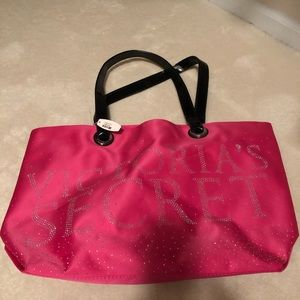Victoria's Secret hot pink logo travel bag